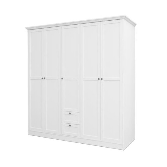 Country Large Wooden Wardrobe In White With 5 Doors_1