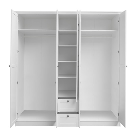 Country Large Wooden Wardrobe In White With 5 Doors_5