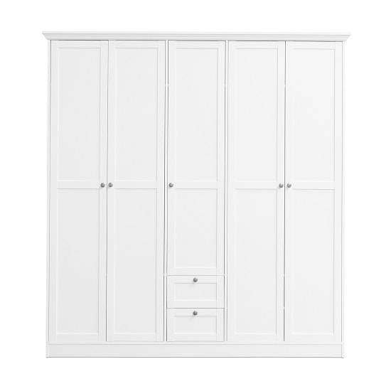 Country Large Wooden Wardrobe In White With 5 Doors_3