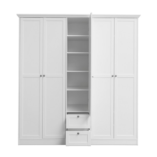 Country Large Wooden Wardrobe In White With 5 Doors_4