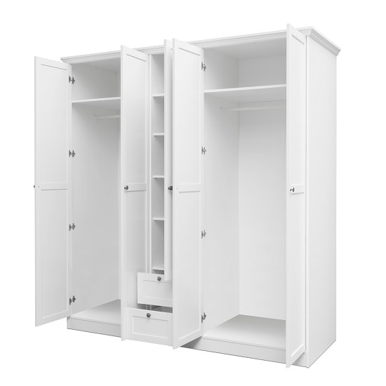 Country Large Wooden Wardrobe In White With 5 Doors_2