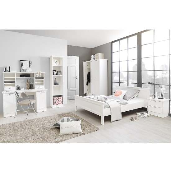 Country Wooden Double Bed In White_4