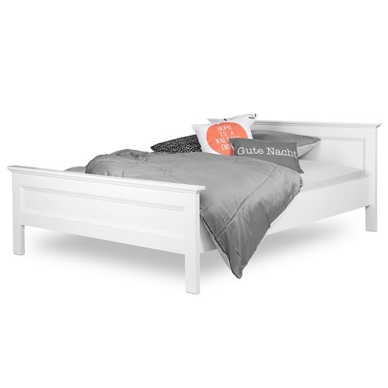 Country Wooden Double Bed In White_2