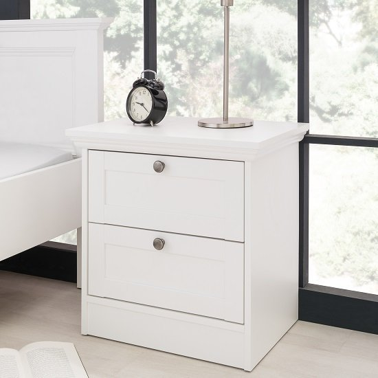 Country Wooden Bedside Cabinet In White With 2 Drawers_1