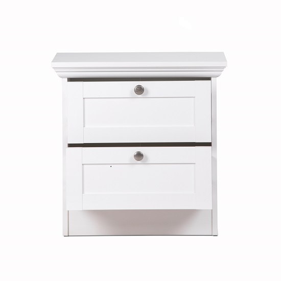 Country Wooden Bedside Cabinet In White With 2 Drawers_3