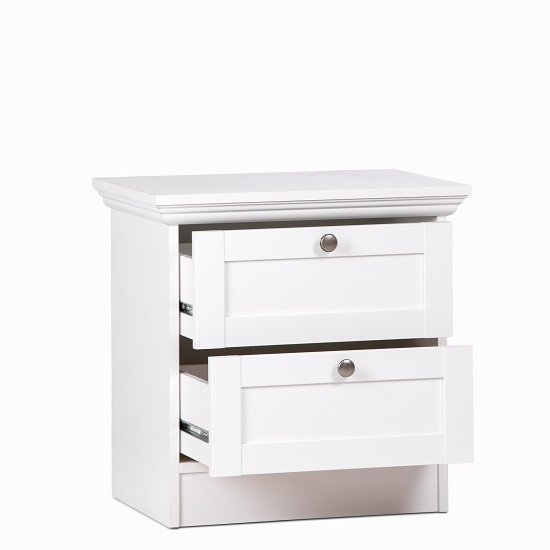 Country Wooden Bedside Cabinet In White With 2 Drawers_2