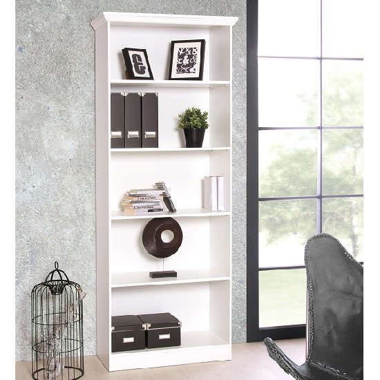 Country Wooden Bookcase In White With 5 Compartments