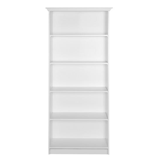 Country Wooden Bookcase In White With 5 Compartments_2