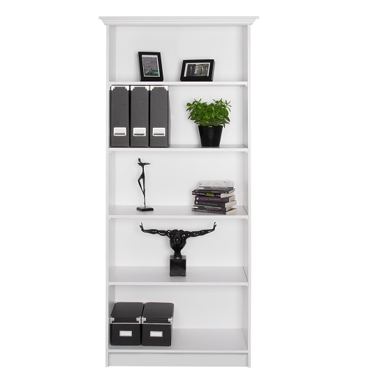 Country Wooden Bookcase In White With 5 Compartments_3