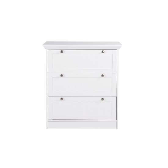 Country Chest Of Drawers In White With 3 Drawers_2