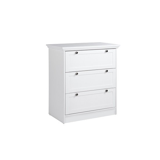 Country Chest Of Drawers In White With 3 Drawers_3