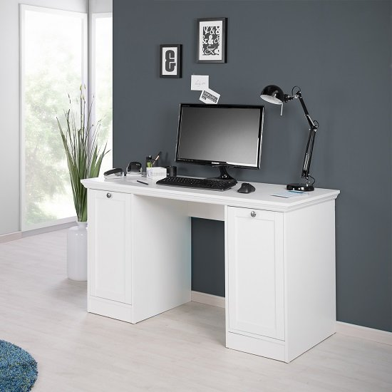 Country Modern puter Desk In White With 2 Doors
