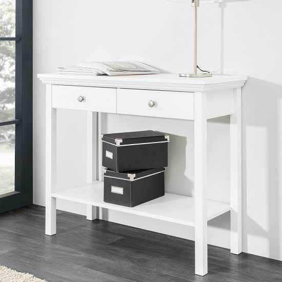 Photo of Country console table in white with 2 drawers