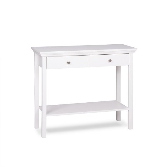 Country Console Table In White With 2 Drawers_3