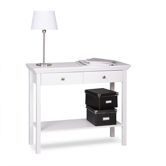 Country Console Table In White With 2 Drawers_4