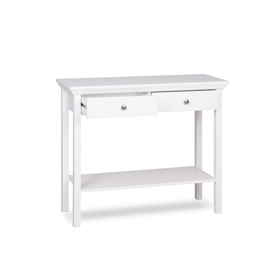 Country Console Table In White With 2 Drawers_2