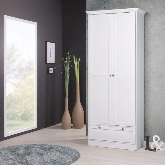 Country Shoe Cupboard In White With 2 Doors And 1 Drawer