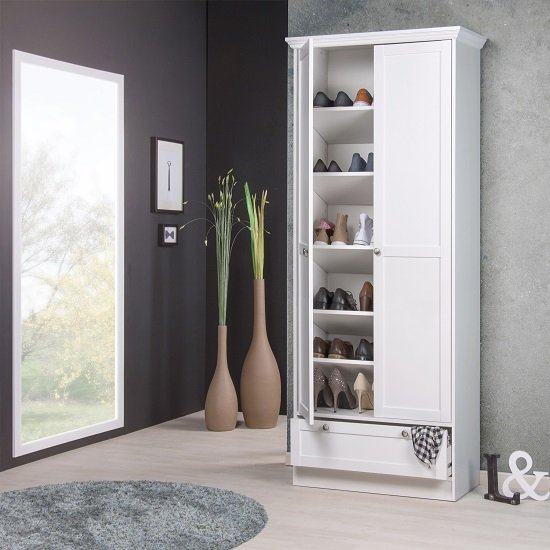Country Shoe Cupboard In White With 2 Doors And 1 Drawer_2