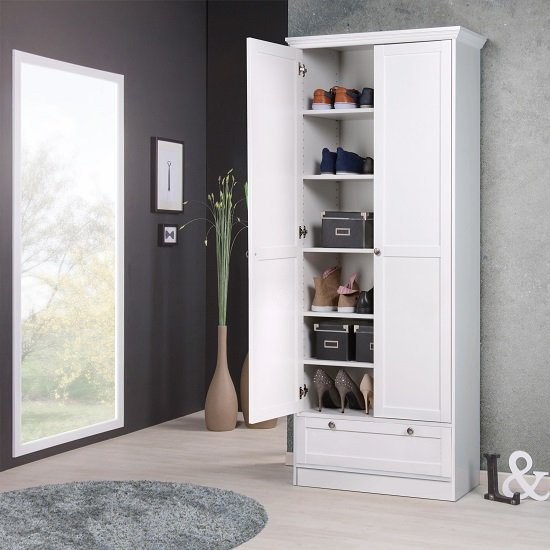 Country Shoe Cupboard In White With 2 Doors And 1 Drawer_3