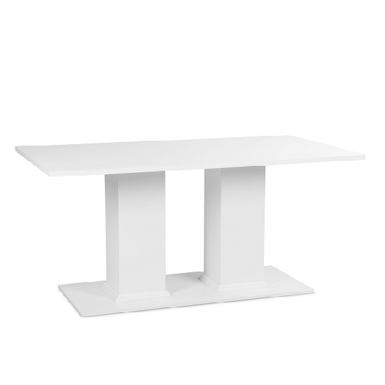 Country Pedestal Dining Table Rectangular In White