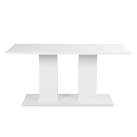 Country Pedestal Dining Table Rectangular In White_2