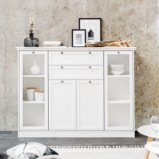Country Glass Highboard In White With 4 Doors_1