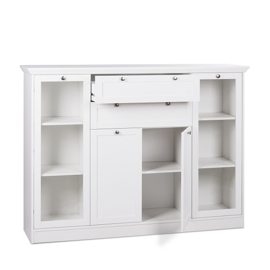 Country Glass Highboard In White With 4 Doors_4