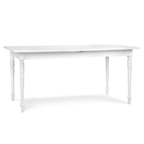 Country Extendable Dining Table Rectangular In White