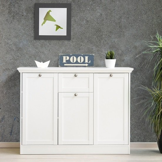 Country Sideboard In White With 3 Doors And 1 Drawer