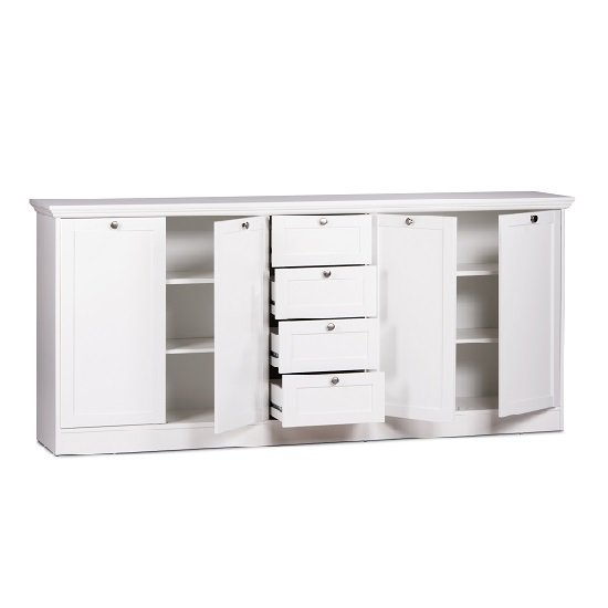 Country Sideboard In White With 4 Doors And 4 Drawers_2