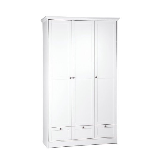 Country Wooden Wardrobe In White With 3 Doors And 3 Drawers
