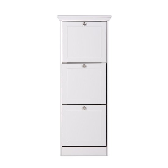 Country Wooden Shoe Cabinet In White With 3 Flap Doors_3