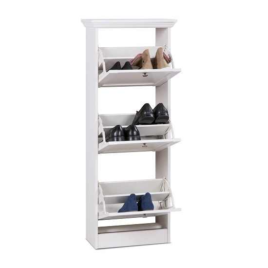Country Wooden Shoe Cabinet In White With 3 Flap Doors_2