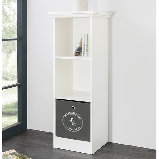 Photo of Country short narrow bookcase in white with 2 shelf