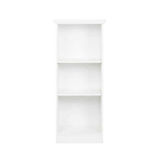 Country Short Narrow Bookcase In White With 2 Shelf_2