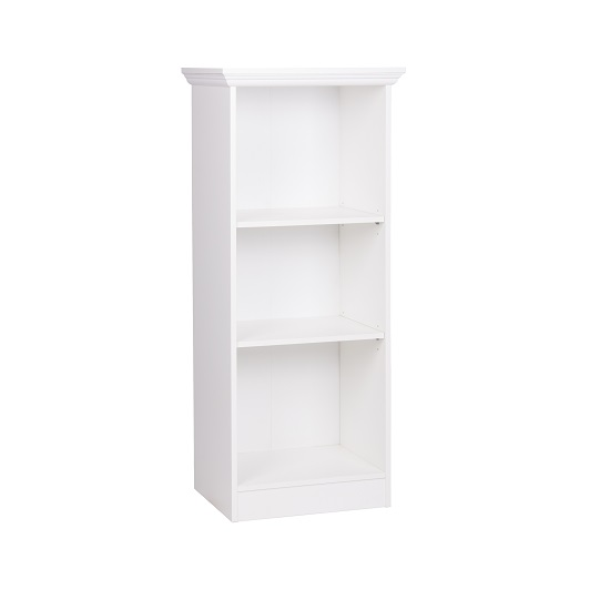 Country Short Narrow Bookcase In White With 2 Shelf_3