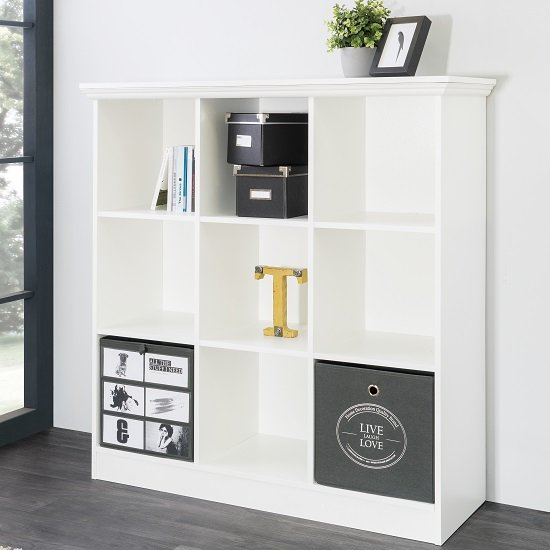 Country Wide Bookcase Small In White With 9 Compartments