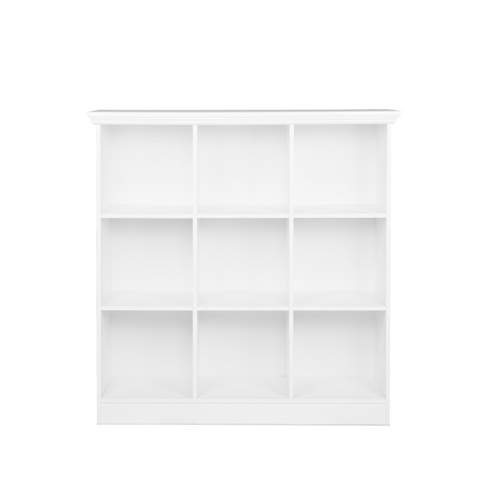 Country Wide Bookcase Small In White With 9 Compartments_3