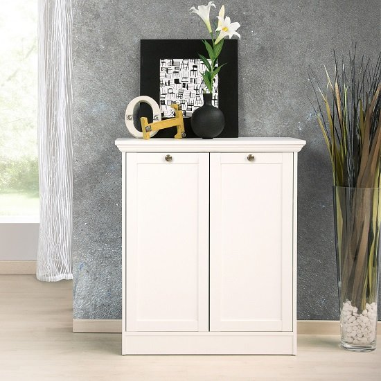 Country Storage Cabinet In White With 2 Doors