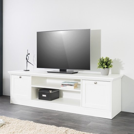 Country Wooden Tv Stand In White With 2 Doors 28295