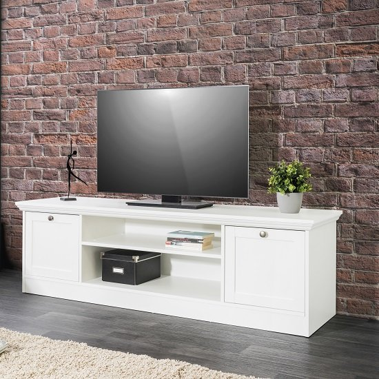 Country Wooden TV Stand In White With 2 Doors_2