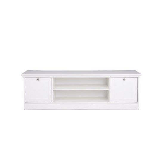 Country Wooden TV Stand In White With 2 Doors_3