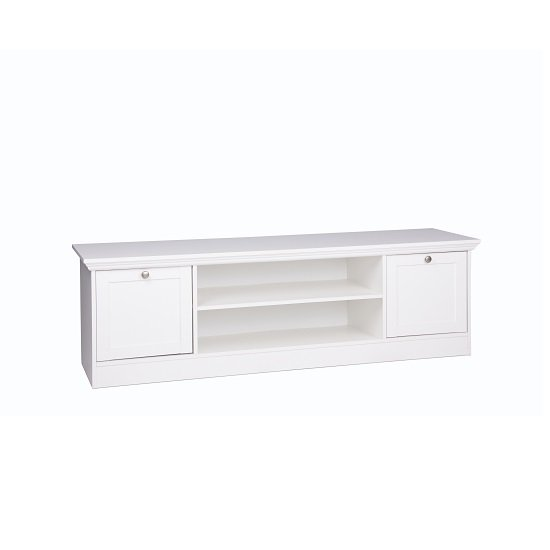 Country Wooden TV Stand In White With 2 Doors_4