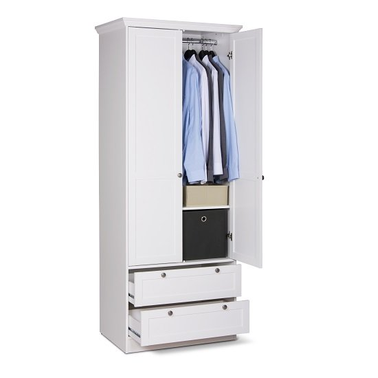 Country Wooden Wardrobe In White With 2 Doors And 2 Drawers_2