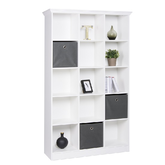Country Wooden Wide Bookcase In White With 15 Compartments