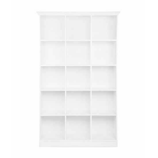Country Wooden Wide Bookcase In White With 15 Compartments_2