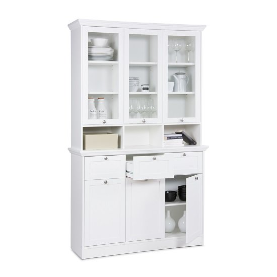 Country Buffet Glass Display Cabinet In White With 6 Doors_3