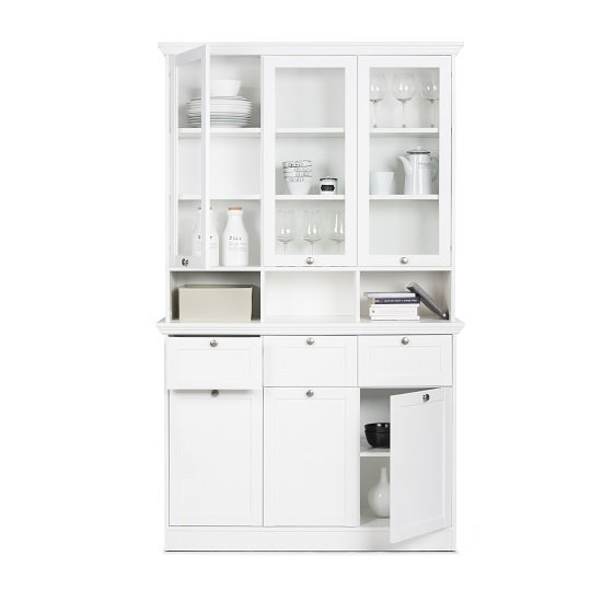 Country Buffet Glass Display Cabinet In White With 6 Doors_4