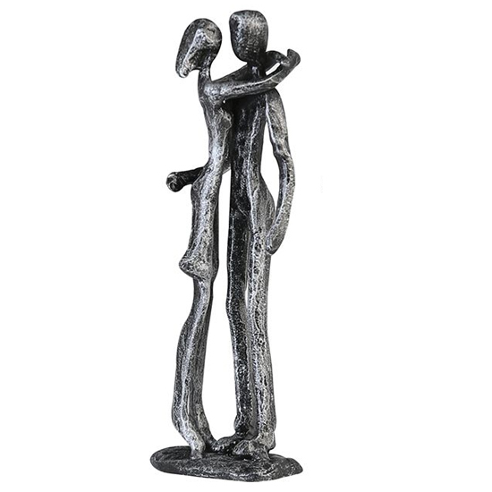 View Couple iron design sculpture in antique silver