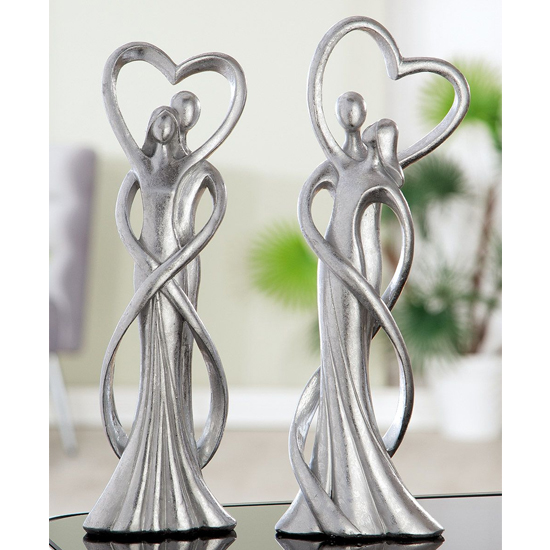 Couple Of Heart Intimacy Poly Design Sculpture In Silver